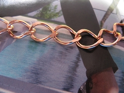 Solid Copper Anklet CA716G - 7/16 of an inch wide - Available in 8 to 12 inch lengths  -  Light weight.