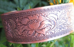 Women's 7 Inch Copper Cuff Bracelet CB1001C3- 1/2 of an inch wide.