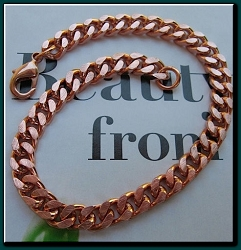 Solid Copper Men's  8 1/2 Inch Bracelet CB651G - 1/4 of an inch wide