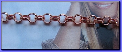 Ladies Solid Copper 7 1/2 Inch Bracelet CB672G - 1/4 of an inch wide