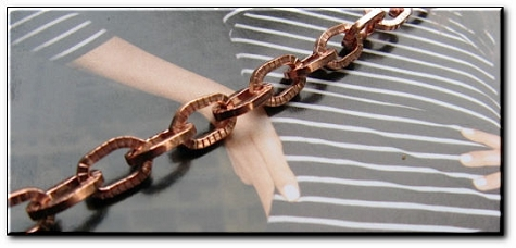 Solid Copper 7 inch Bracelet CB680G- 1/4 of an inch wide