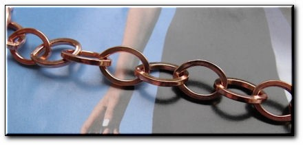 Ladies Solid Copper 7 Inch Bracelet CB681G - 7/16 of an inch wide