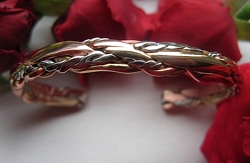 Women's 7 Inch Copper, Nickel And Brass Cuff Bracelet CB75M - 3/16  of an inch wide.