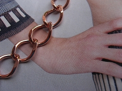Ladies Solid Copper 7 1/2 Inch Bracelet CB716G - 7/16 of an inch wide - Light weight.