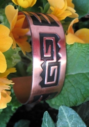 Women's 7 Inch Copper Cuff Bracelet CB5159C - 7/8 of an  inch wide.