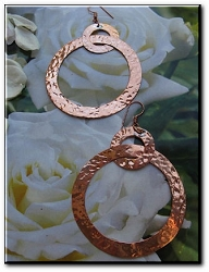 Solid Copper Earrings  CE1297E - 2 1/2 inches long.