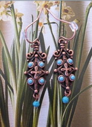 Copper Stone earrings  with  Turquoise  stones  CE9092 -  1 1/2 inches long