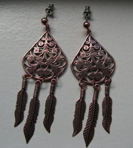 Solid Copper Earrings  CE058- 2 inches long