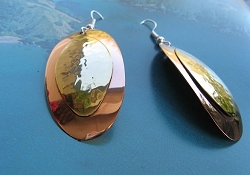 Solid Copper and Brass Earrings  CE1129E - 2  inches long.