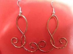 Solid Copper Earrings  CE1148E -2 inches long.