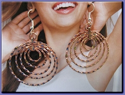 Solid Copper Earrings  CE1199E - 1 1/2 inches round.