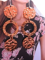 Solid Copper Earrings  CE119E - 2  inches long.