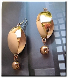 Solid Copper Earrings  CE1212E - 2 1/4 inches long.