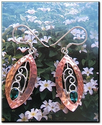 Copper Stone earrings  with Emerald CZ stones  CE214VW - 1 1/2 inches long