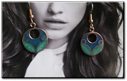 Copper Cloisonne Stone Earrings CE246JL - 5/8 of an inch round