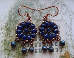 Copper Lapis Stone Earrings CE9028 - 1 1/4 inches long.