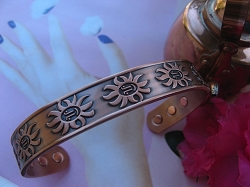 Ladies 8 Inch Solid Copper Magnetic Cuff Bracelet CBM223L- 1/2 an inch wide.