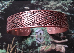 Men's 8 Inch Solid Copper Magnetic Cuff Bracelet CBM853 - 9/16 of an inch wide.