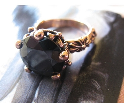 Copper Black Onyx Stone Ring CR2672 - Size 8 - 1 inch round