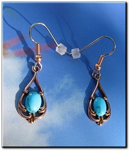 Copper Stone earrings  with Simulated Turquoise  stones  CE506T- 1 Inch long.