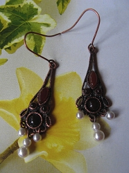 Copper Carnelian and Pearl Stone Earrings CE2610 - 1 1/2 inches long.