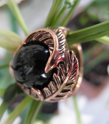 Copper Black Onyx Stone Ring CR2030 - Size 8 - 3/4 of an inch wide
