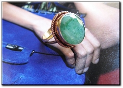 Copper Green Agate  Ring CR342AE - Size 6  - 5/8 of an inch wide