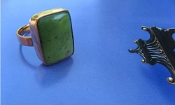 Copper Agate  Ring CR337AE - Size 8 1/2 - 1/2 an inch wide.,