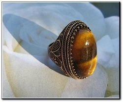 Brass Tigers Eye Stone Ring CR2613 - Size 9 -1 1/4 inches long