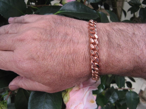 Men's 10 1/2 Inch Solid Copper Bracelet CB646G  - 3/8 of an inch wide