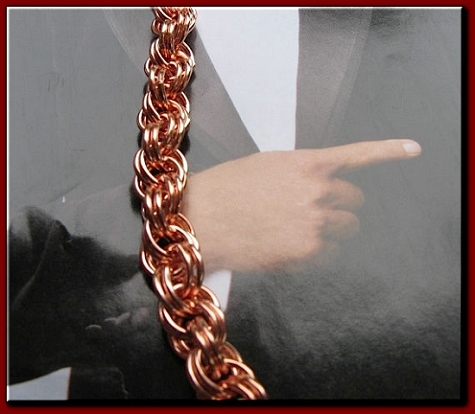 Men's 10 1/2 Inch Solid Copper Solid Copper Bracelet  CB686G - 5/16  of an inch wide