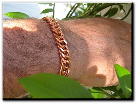 Men's 8 Inch Solid Copper Bracelet CB632G  - 3/8 of an inch wide
