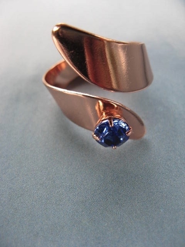 Adjustable Copper Ring  518DS - Blue Topaz Cubic Zirconia stone.