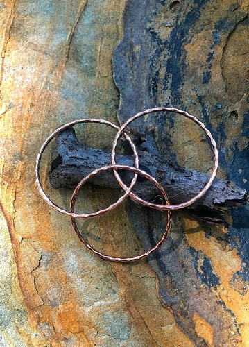Triple Band Copper Bangle Bracelet 599E - 5/16 of an inch wide. Will fit women with a 7 inch wrist and smaller .