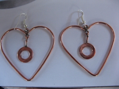 Solid Copper Earrings  CE2002AR - 2  inches long.