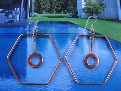 Solid Copper Earrings  CE2003AR - 2  inches long.