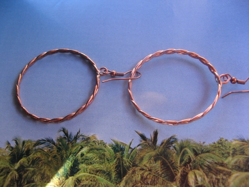 Solid Copper Earrings  CE328SL - 1 1/2 inches round.