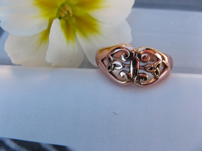 Solid copper Celtic Knot band Size 8 ring CTR3402 - 3/8 of an inch wide.