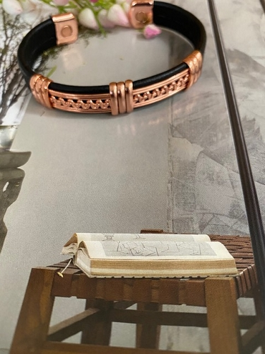 Men's 8 Inch Solid Copper and Leather Magnetic Cuff Bracelet CLM416 - 7/16 of an inch wide