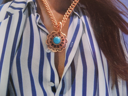 Solid Copper Simulated Turquoise Stone Pendant and 20 Inch Chain Set CP43 - Very small Pendant.  1/2 inch round