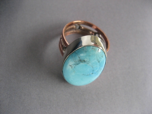 Copper and Nickel Stone Band Size 10 Ring  #CR447i - 1/2 an inch wide.