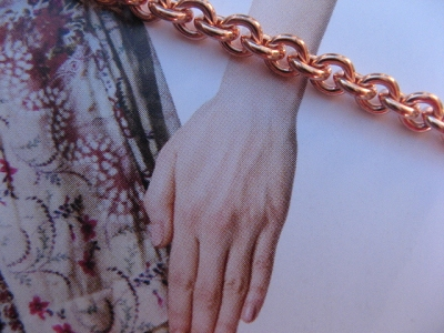 Ladies Solid Copper 7 1/2 Inch Bracelet CB733G - 3/16 of an inch wide