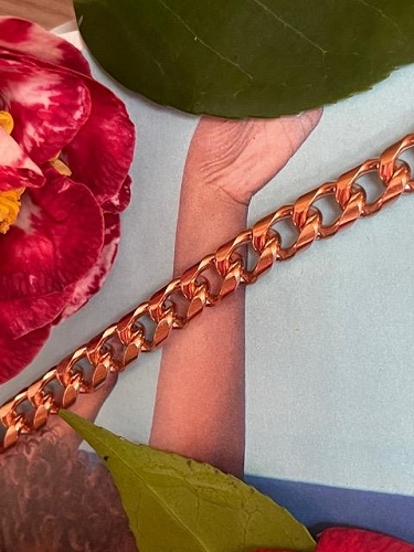 Solid Copper 6 1/2 Inch Bracelet CB788G - 3/8 of an inch wide.