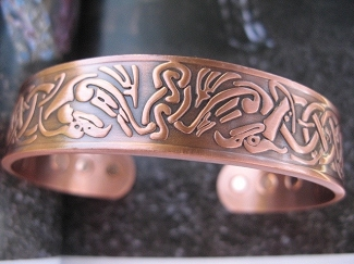 Men's 8 Inch Solid Copper Magnetic Cuff Bracelet CBM877 - 1/2 an  inch wide