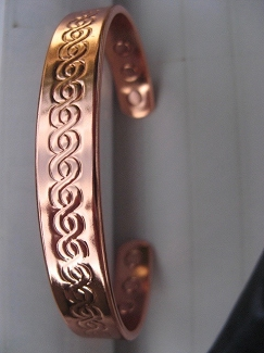 Men's 8 Inch Solid Copper Magnetic Cuff Bracelet CBM882 - 3/8 of an inch wide.