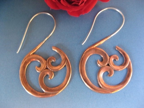 Solid Copper and Sterling Silver  Earrings  CE40 - 2 inches long.