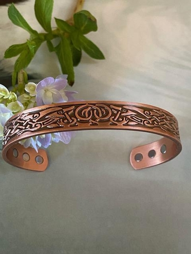 Men's 8 Inch Solid Copper Magnetic Cuff Bracelet CBM-AZ5- 1/2 of an inch wide.