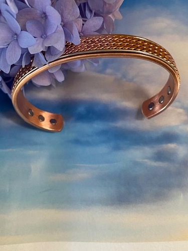 Men's 8 Inch Solid Copper Magnetic Cuff Bracelet CBM-AZ3- 1/2 of an inch wide.