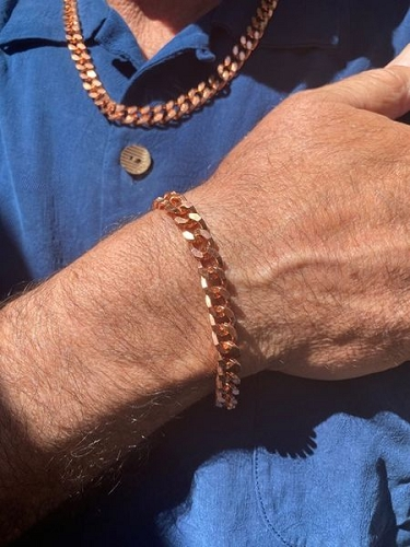 Solid Copper Chain and bracelet set CN626G - 5/16 of an inch wide. Custom made to order. $60 to $68. Chains are available in 18 to 30 inch lengths and bracelets are available in 8 to 12 inch lengths.