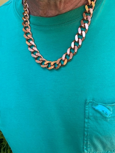 20 Inch Length Solid Copper Chain CN639G - 5/8 of an inch wide - Our widest design.